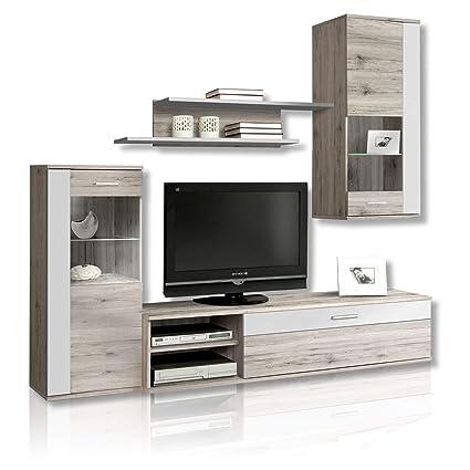Newface Moderne Wohnwand Mit Beleuchtung Holz Sandeiche Dekor Kombiniert Mit Weiss 213 X 41 3 X 184 Cm