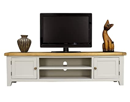 buy cheap aad5e e98b6 Arklow Painted Oak Extra Large TV Stand / 180cm Dovetail Grey Living Room  Storage