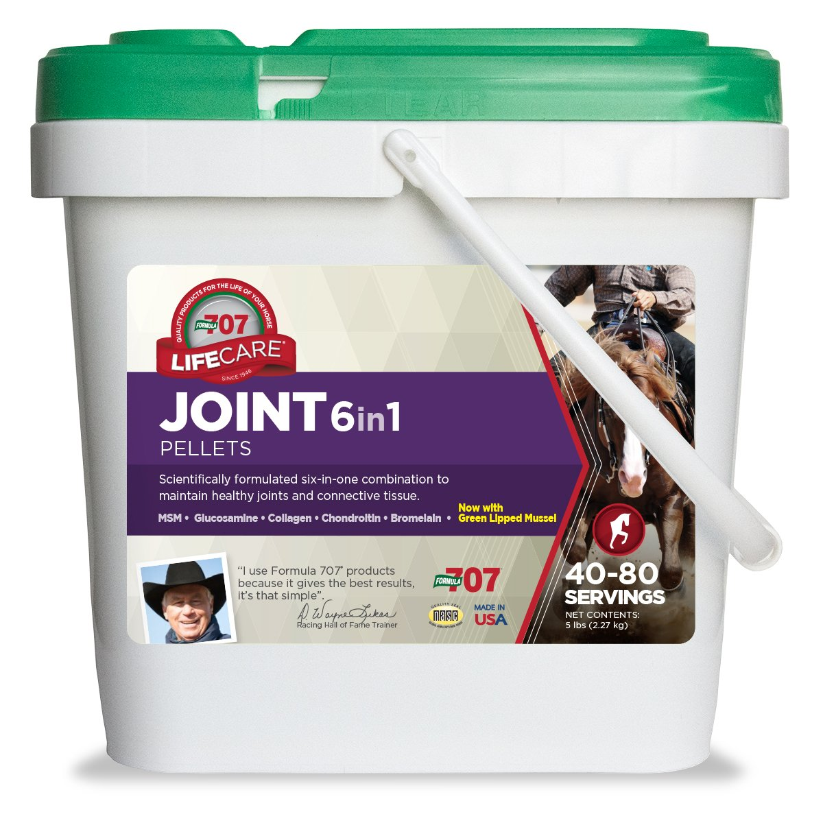 Formula 707 Joint 6in1 Equine Supplement, 5lb Bucket - MSM, Glucosamine, Chondroitin, Collagen, Bromelain & Green-Lipped Mussel for Horses