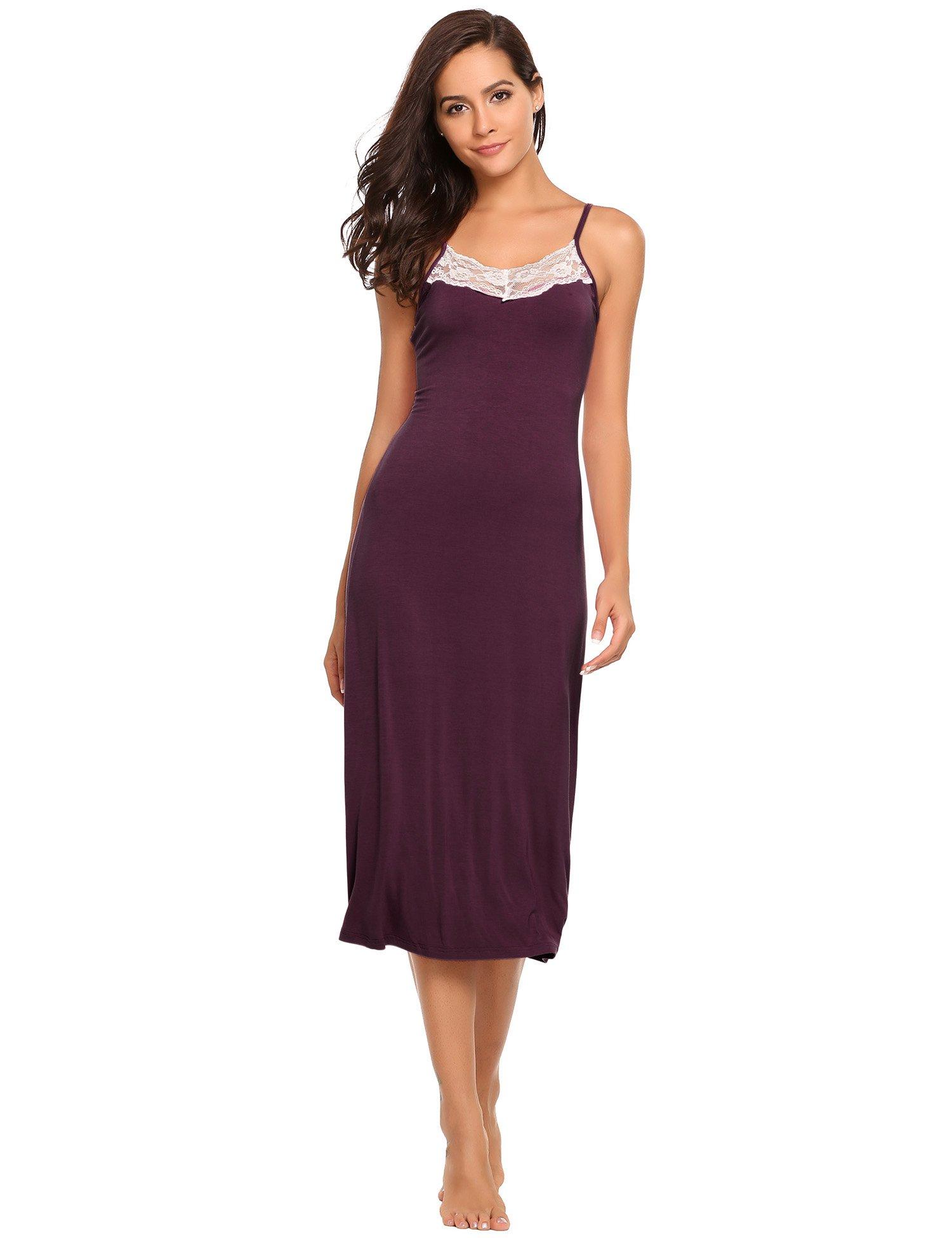 Ekouaer Womens Sleepwear Nightgown Full Slips Lace Sling Dress S-XL (S, 7137-Purplish Red-Long Style)