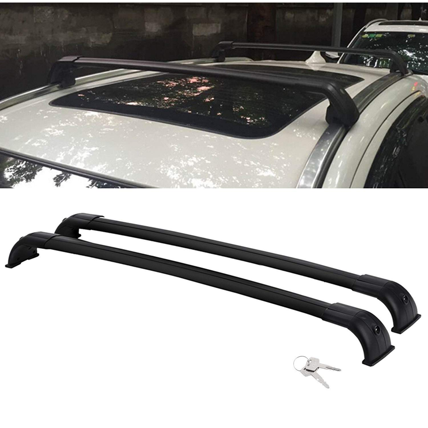 Aluminum Locking Roof Rack Crossbars for 2013 2014 2015 2016 Land Rover Discovery 4 LR4 Black Factory Roof Rails Cross bars ROKIOTOEX