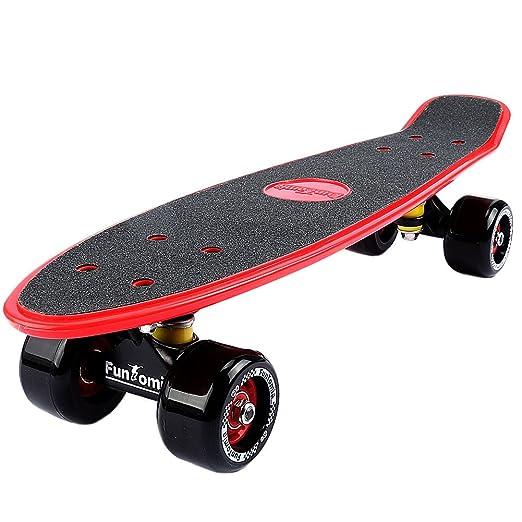 32 opinioni per FunTomia® Skateboard 57cm- Big Wheel ruote 70x42mm- Retro Mini Cruiser (Rosso)