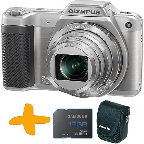 Olympus SZ-15 Cámara compacta plateado + Sandisk 8GB SDHC Tarjeta de memoria + caja de la cámara Allcam (16MP, pantalla de 3