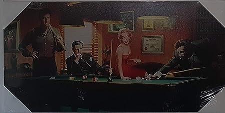 Lienzo Impreso de Monroe, Elvis, Dean, Bogart jugando a billar ...