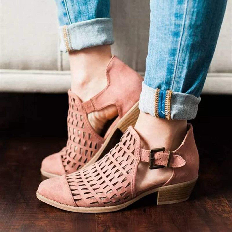 better-caress Peep Toe Sandals Women Zip Chunky Square Heel Ankle Booties Womans Sandals Plus Size,Khaki,9