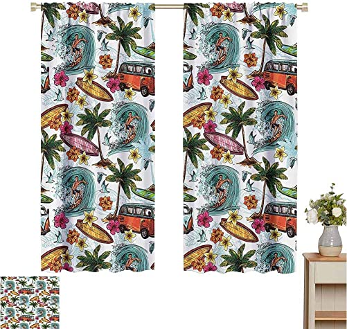 June Gissing Ocean Decor Curtain Darkening Blackout Hawaiian Decor Surfer on Wavy Deep Sea Retro Palms Flowers Surfing Boards Print Microfiber Window Panel Pair W63 x L84 Multicolor