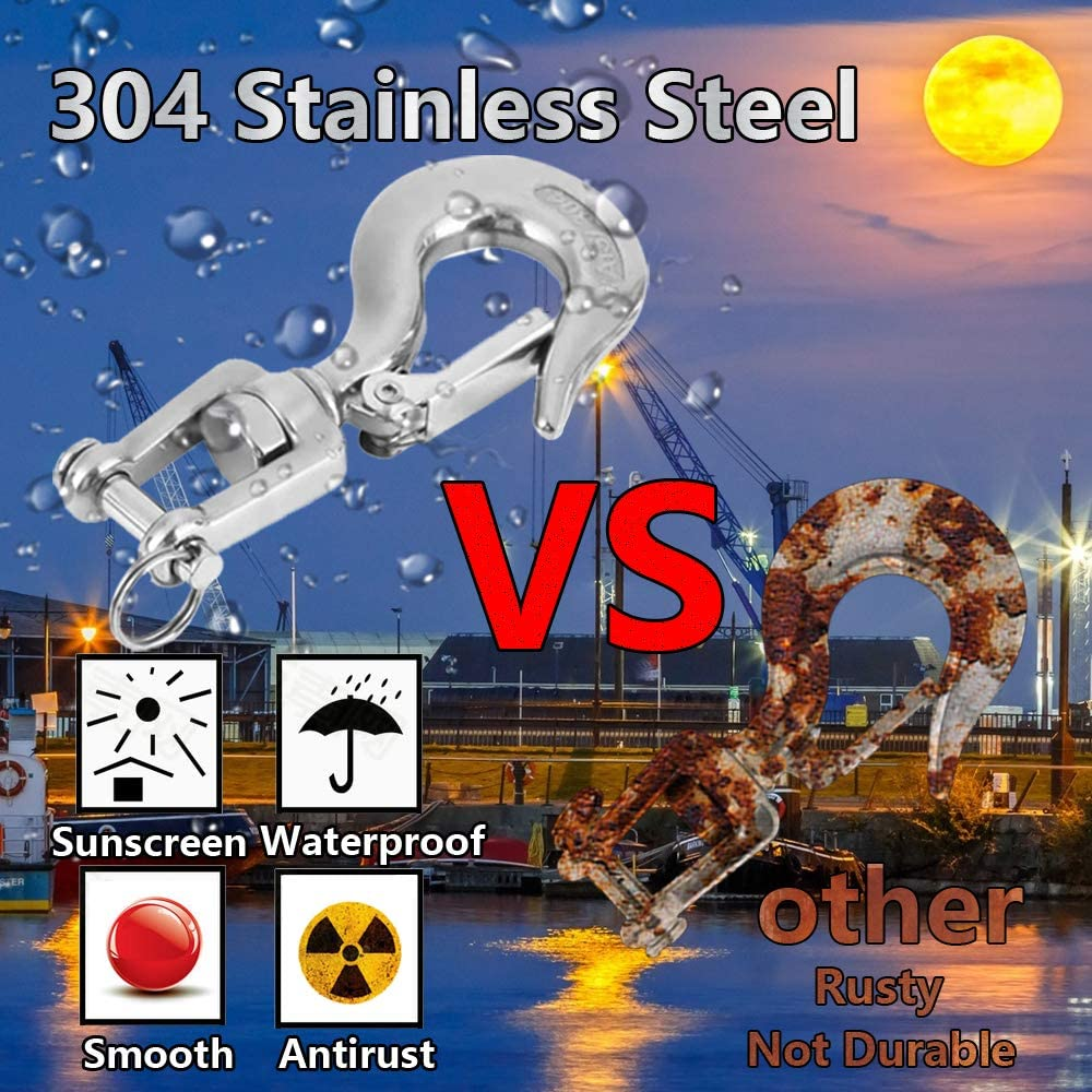 330lb// 150kg Slip Hook Lsquirrel 2Pcs 304 Stainless Steel Clevis Hook Safety Hook with Safety Latch Swivel Lifting Hook Capacity