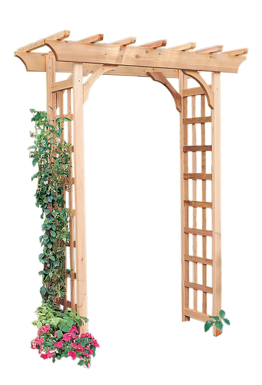 Arboria Rosedale Garden Arbor Cedar Wood Over 7ft High Pergola Design with Curved Corners by Arboria