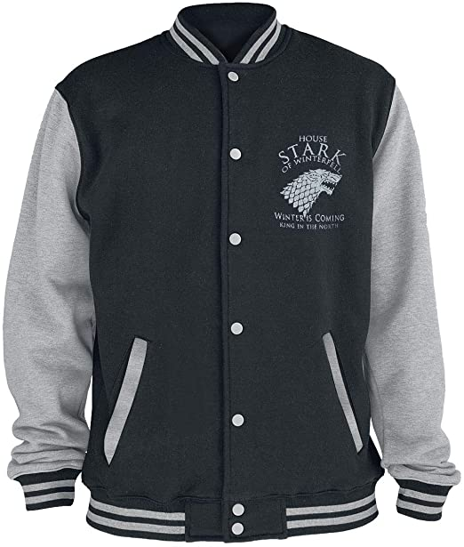 Game Of Thrones Juego de Tronos House Stark Chaqueta Universitaria Jaspeado Negro/Gris: Amazon.es: Ropa y accesorios