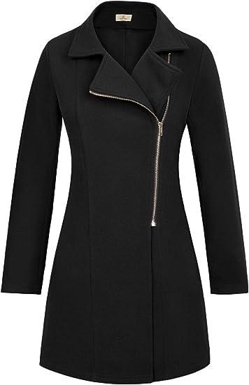 GRACE KARIN Women Long Sleeve Open Front Warm Zipper Jacket Coat with Pockets