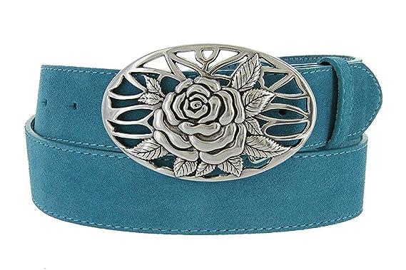 Avnet Ceinture Homme En Cuir Suede Véritable 38mm Et Boucle A Rose Argentée,  Bleu 80 9c95f483cff