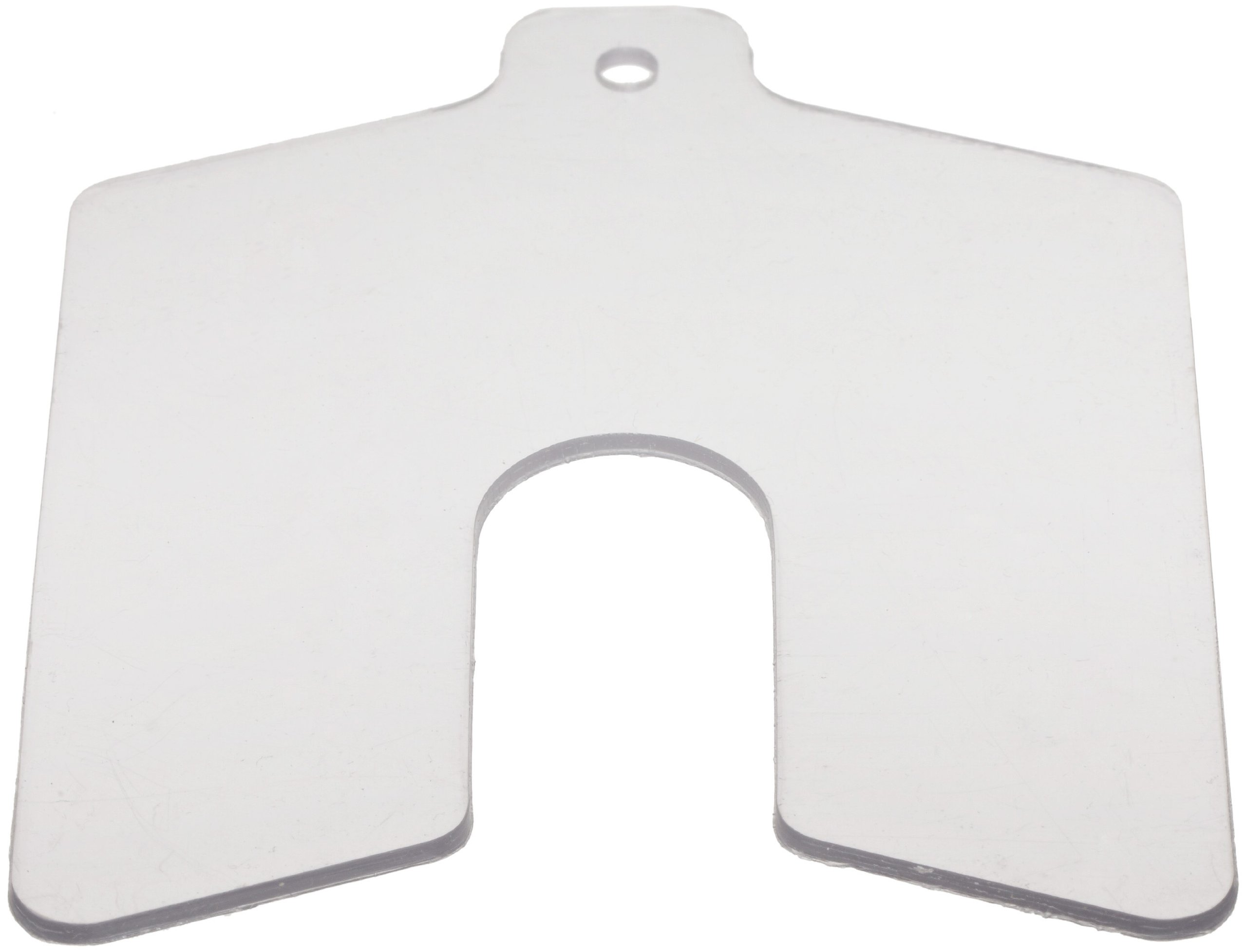 PVC (Polyvinyl Chloride) Slotted Shim,  Clear, 0.060'' Thickness, 3'' Width, 3'' Length, 0.75'' Slot Width (Pack of 20) by Small Parts