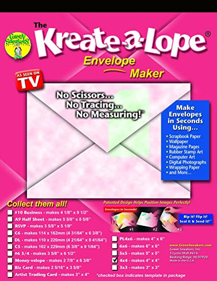 amazon com kreate a lope 4x4 square envelope template arts