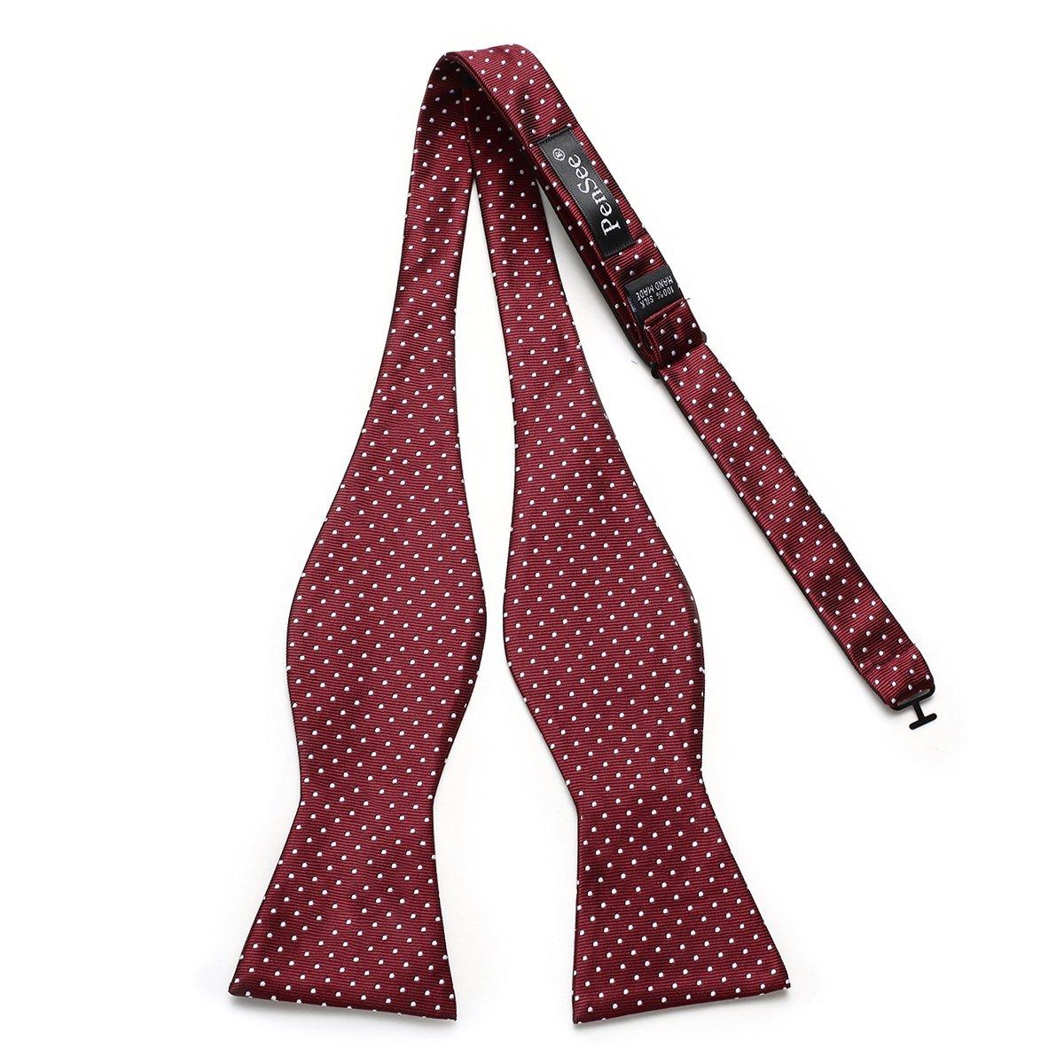 PenSee Mens Self Bow Tie Polka Dots Woven Silk Bow Ties-Various Colors