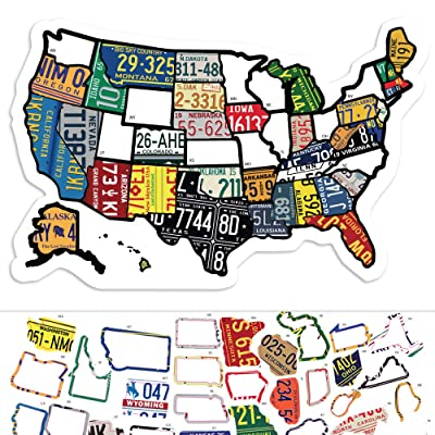 "RV State Sticker Travel Map - 11"" x 17"" - USA States Visited Decal - United States License Plate Non Magnet Road Trip Window Stickers - Trailer Supplies & Accessories - Exterior or Interior Motorhome: Arts, Crafts & Sewing"