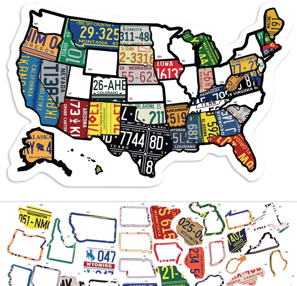 Us Travel Map States Amazon.com: RV State Sticker Travel Map   11