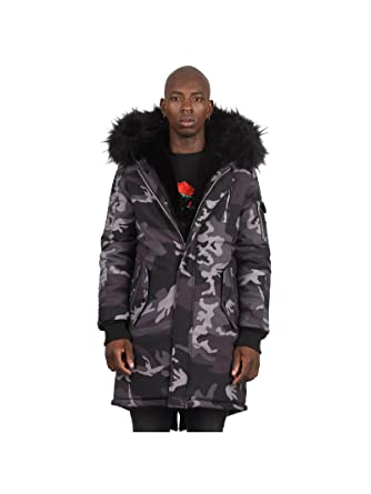 Project X Paris Parka Jacket with Camo Print  Amazon.co.uk  Clothing 1fdac9b55