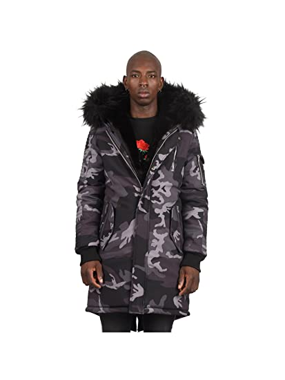 23571e265fbde8 Project X Paris Parka Jacket with Camo Print  Amazon.co.uk  Clothing