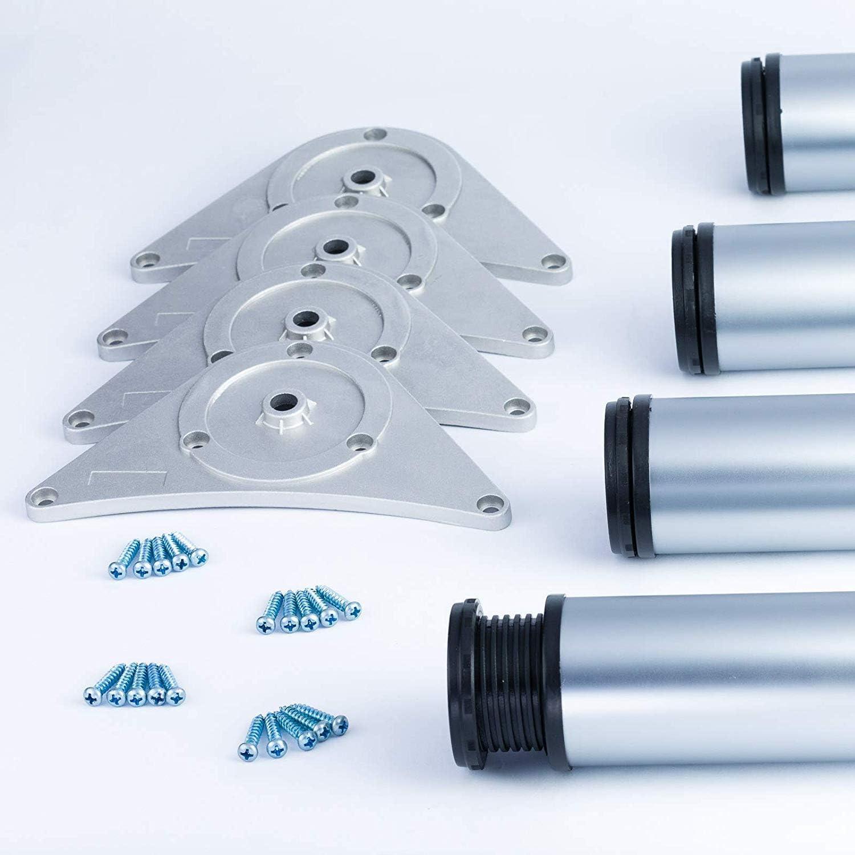 Juego de 4 barras de altura ajustable para soporte de mesa de desayuno y encimera 820 870 1100 mm MKGT/® 710 con placa de montaje y tornillos