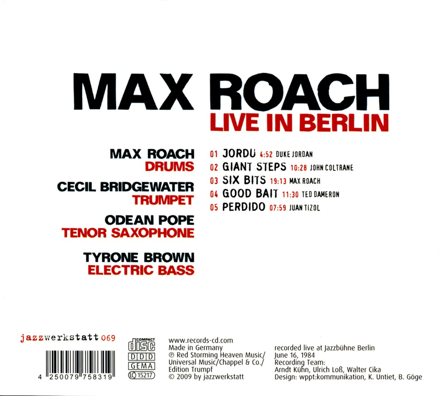 Live In Berlin: Max Roach, Cecil Bridgewater: Amazon.es: Música