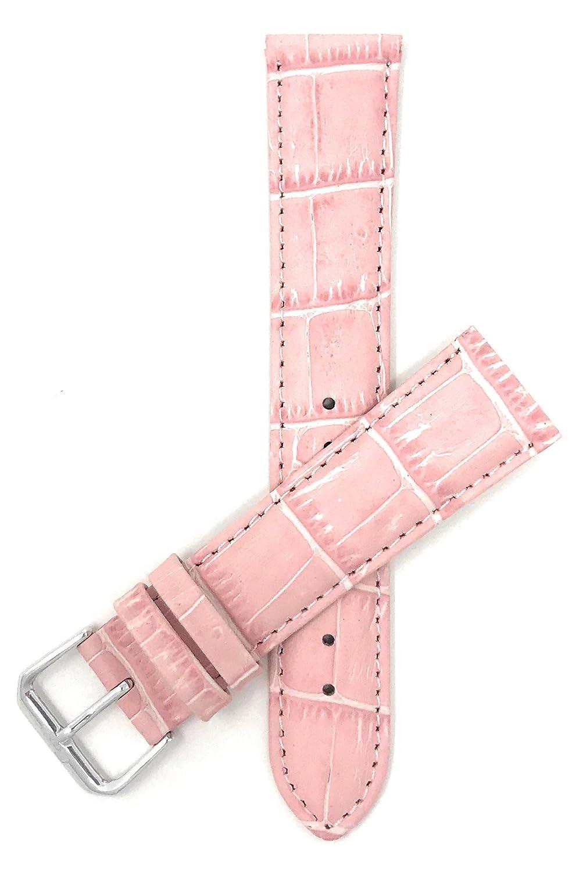 レディース 腕時計バンド 12mm~20mm アリゲータースタイル 本革 ストラップ 色のバリエーション:ホワイト レッド ブルー ベージュ オレンジ ピンク グレー グリーン 12MM ピンク B01B2FTKMK 12MM|ピンク ピンク 12MM