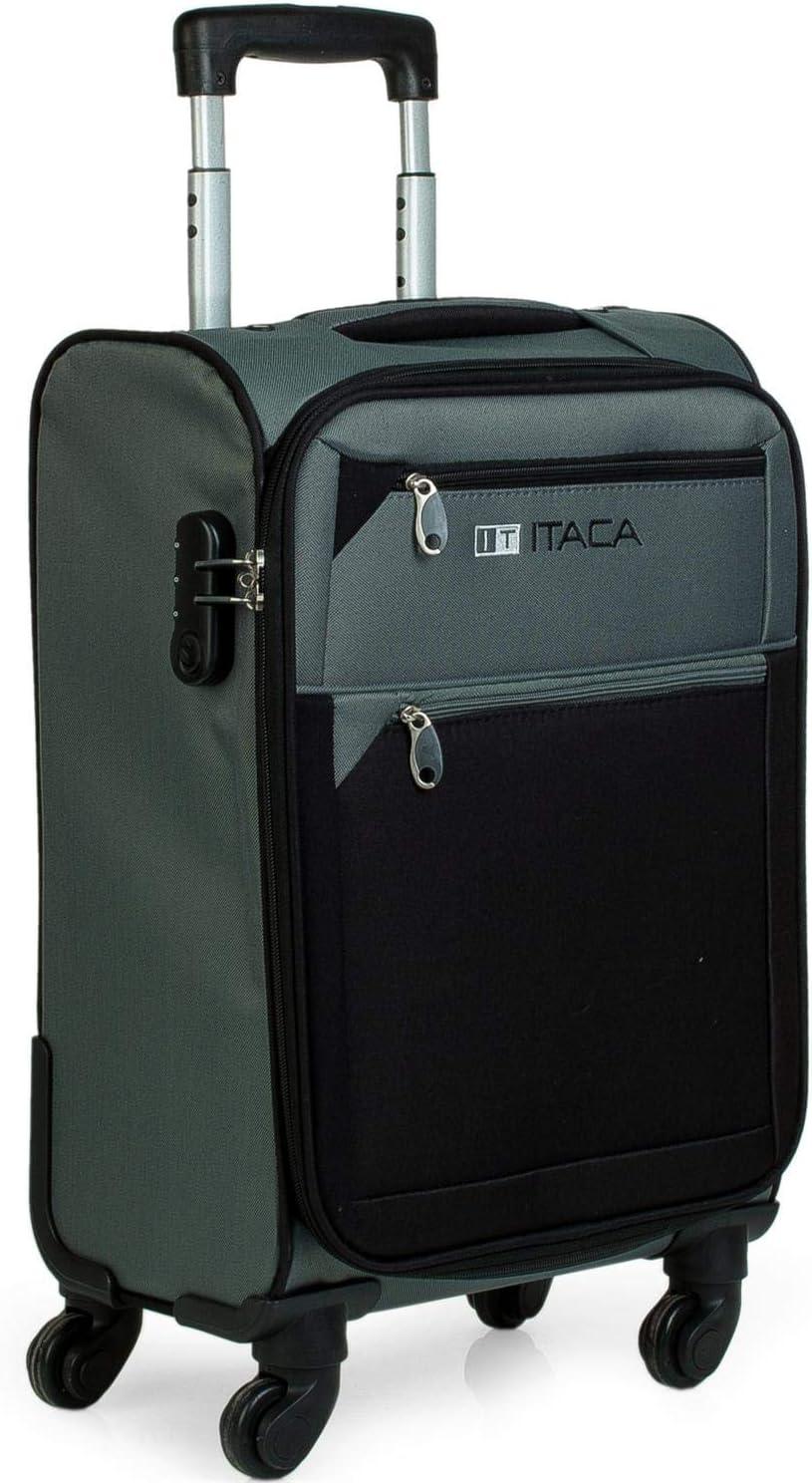 ITACA - Maleta de Viaje Cabina 4 Ruedas Trolley 54 cm Poliéster EVA. Equipaje de Mano. Blanda, Resistente y Ligera. Mango Asas Candado. Low Cost Ryanair. 701050, Color Gris-Negro