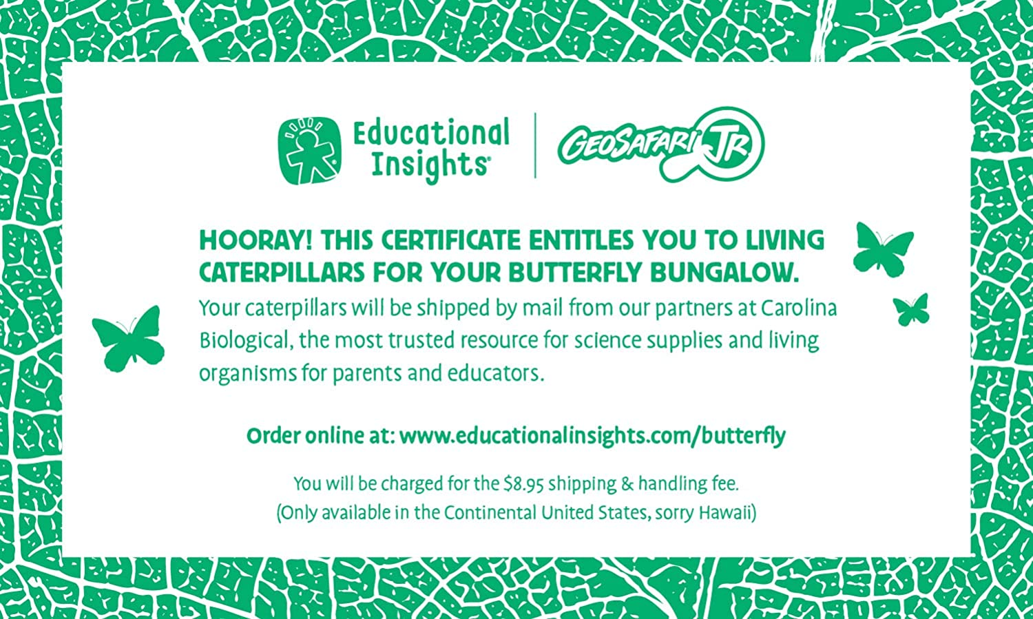 NEW Educational Insights Geosafari Jr Butterfly Bungalow
