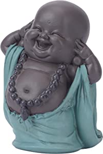 JAZUIHA Buddha Statue Cute Baby Buddha Statue Monk Figurine Home Decor Smiling Buddha Arts and Crafts Table Decoration Ornament for Home,Office