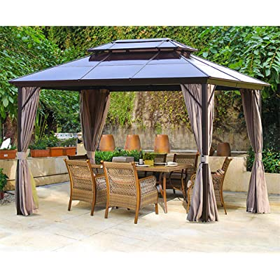 Erommy 10x13ft Outdoor Double Roof Hardtop Gazebo Canopy Aluminum Furniture Pergolas with Netting and Curtains for Garden, Patio, Lawns, Parties : Garden & Outdoor