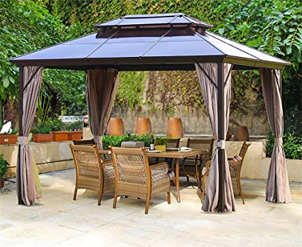 Amazon Com Erommy 10x13ft Outdoor Double Roof Hardtop Gazebo Canopy Aluminum Furniture Pergolas With Netting And Curtains For Garden Patio Lawns Parties Garden Outdoor