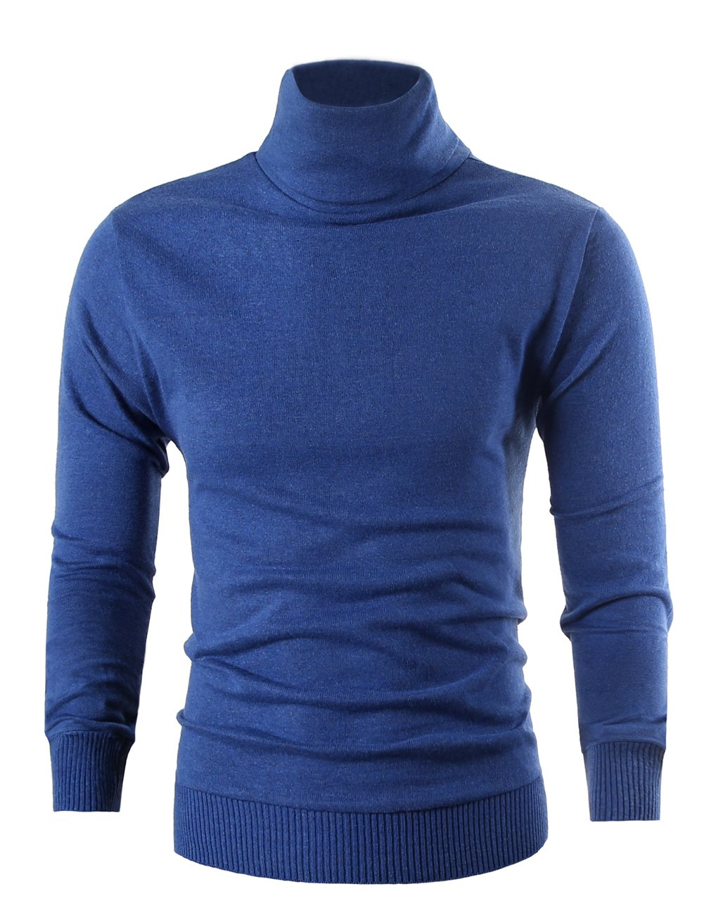 MIEDEON Mens Casual Basic Knitted Turtleneck Slim Fit Pullover Thermal Sweaters (Blue, XL)