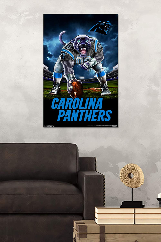 22.375 x 34 3 Point Stance Wall Poster Multi Trends International Carolina Panthers