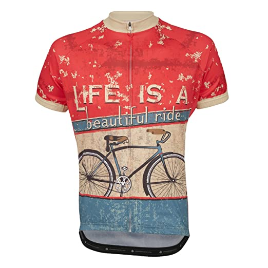 Amazon.com  Life is A Beautiful Ride Men s Cycling Jersey Red  Clothing 468b2d3eb