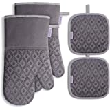 Oven Mitts and Pot Holders 4pcs Set, Kitchen Oven Glove High Heat Resistant Extra Long Oven Mitts and Potholder with Non-Slip