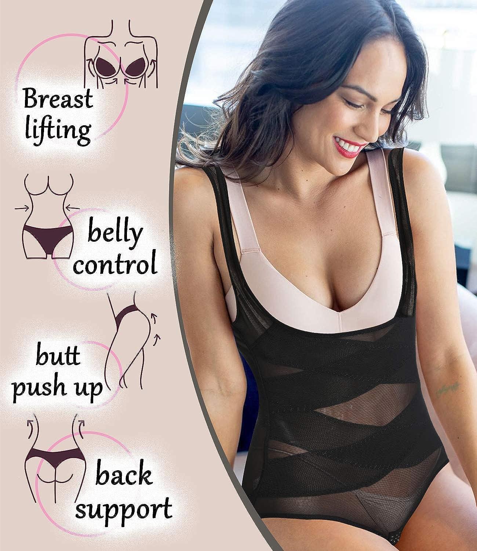 COMFREE Donna Body Modellante Contenitivo Snellente Aperto Busto Pancia Dimagrante Seamless Bodysuit Intimo Modellante Nero M