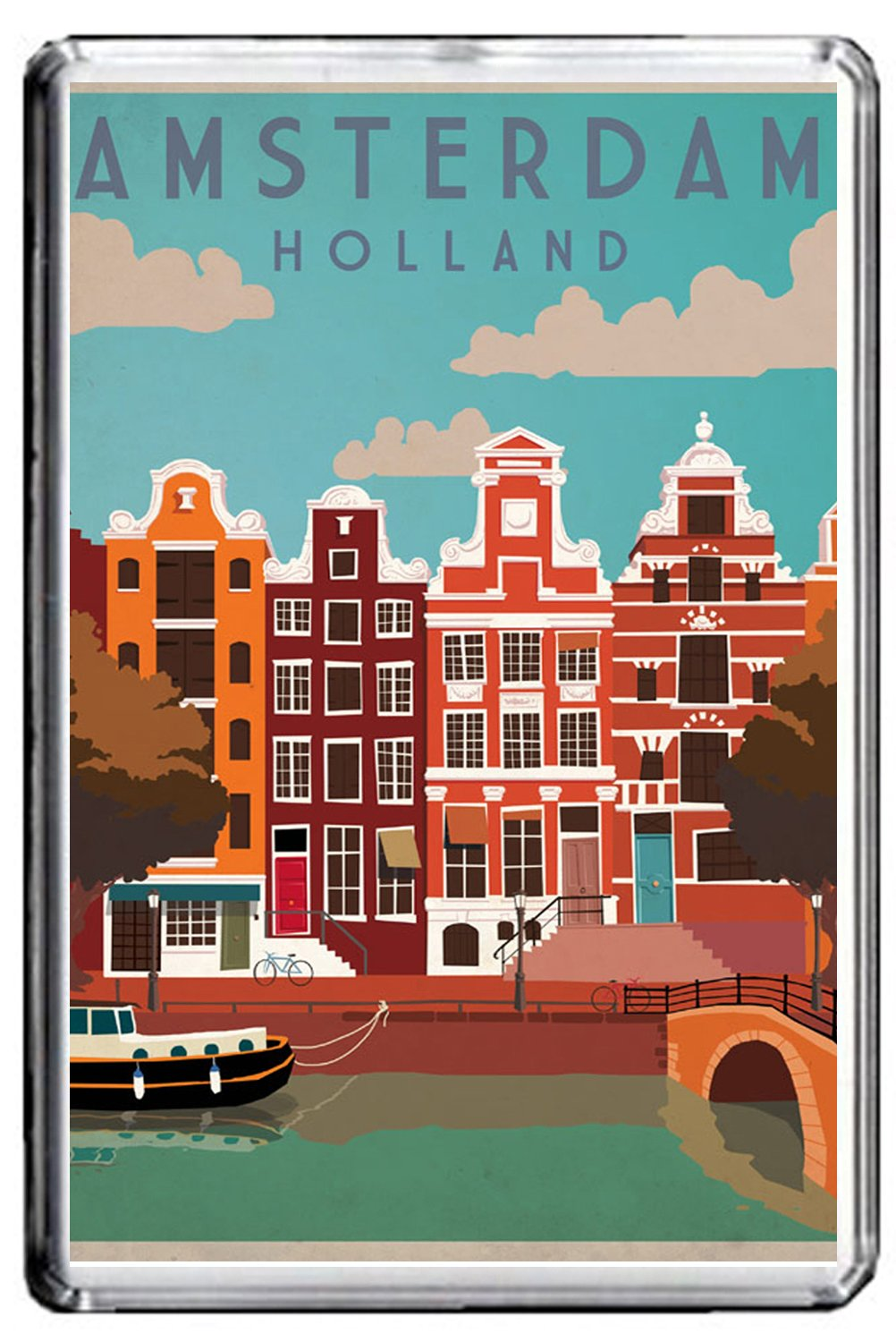 CFL B003 AMSTERDAM FRIDGE MAGNET NETHERLANDS VINTAGE TRAVEL PHOTO MAGNETICA CALAMITA FRIGO