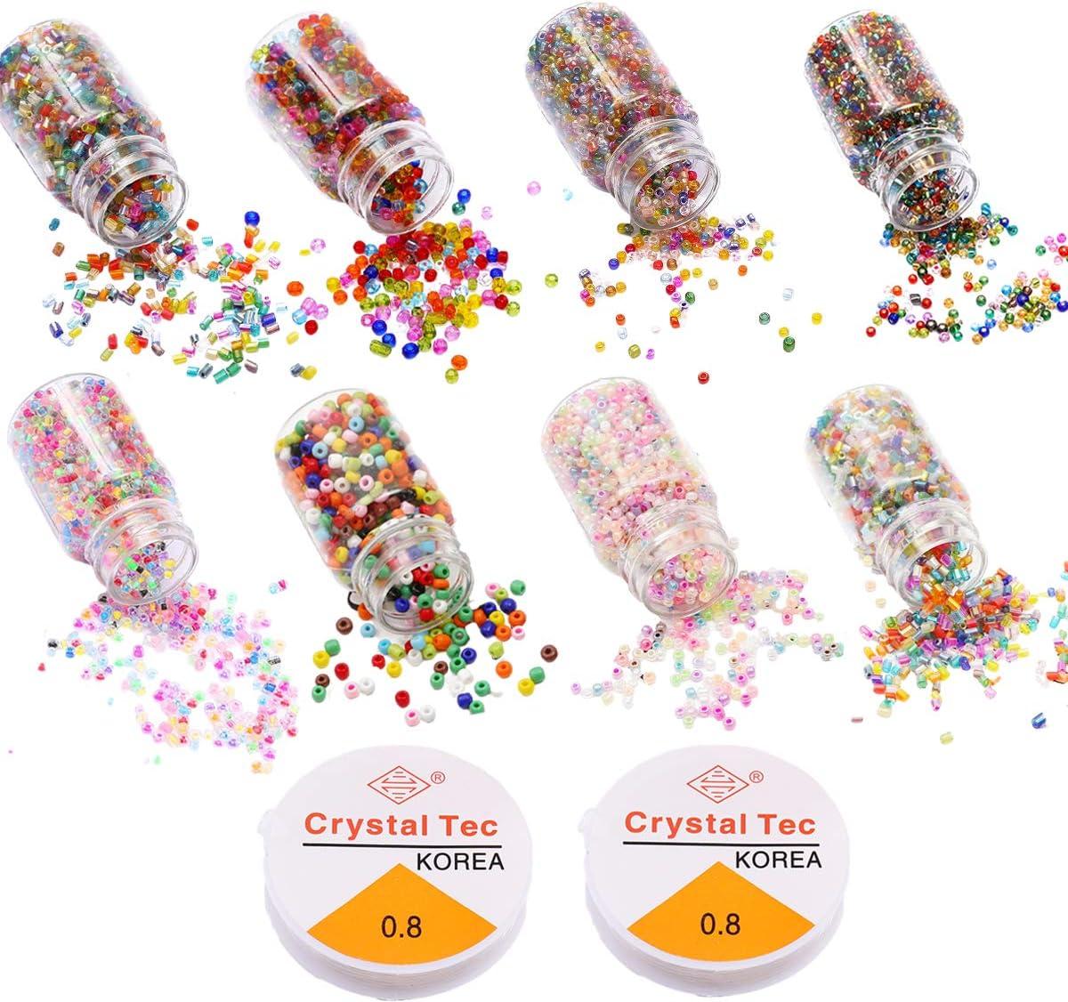 Cuentas de Semillas de Vidrio, Cuentas Cristal Facetado, Cuentas de Colores, Mini Cuentas y Abalorios Perlas Espaciadoras, para Pulseras, Collares, Bisutería de Manualidades
