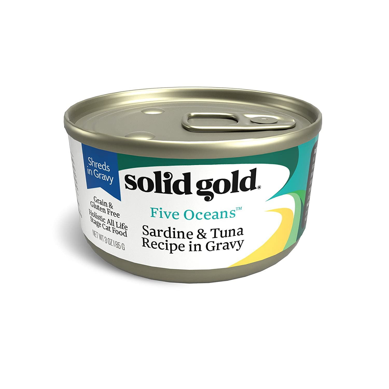 6 oz can (pack of 16) Solid gold Shreds in Gravy Wet Cat Food; Five Oceans with Real Sardine & Tuna, 16ct 6oz can