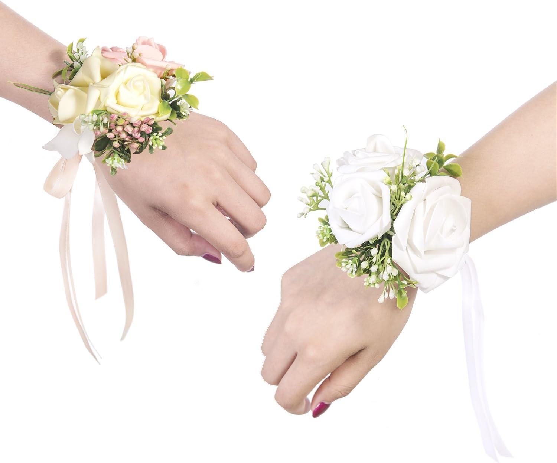 Ling's moment Wrist Corsages Bracelet White Corsage