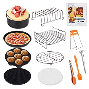 Air Fryer Accessories, Genround 13 Pcs Air Fryer with Cookbook Cake Tin Pizza Tray Rack, French Fries/Baking/Cooking Utensil Sets - 8in XL for Universal 3.6L or More Air Fryers Phillips Cozyna & Oven