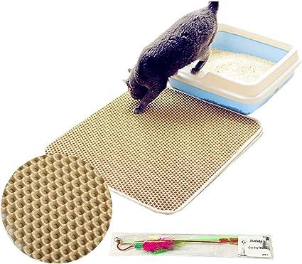 Authda Alfombrilla de arena para gatos doble capa fácil limpieza impermeable suave EVA no tóxica fácil de limpiar bandeja de arena para gatos bordes ...