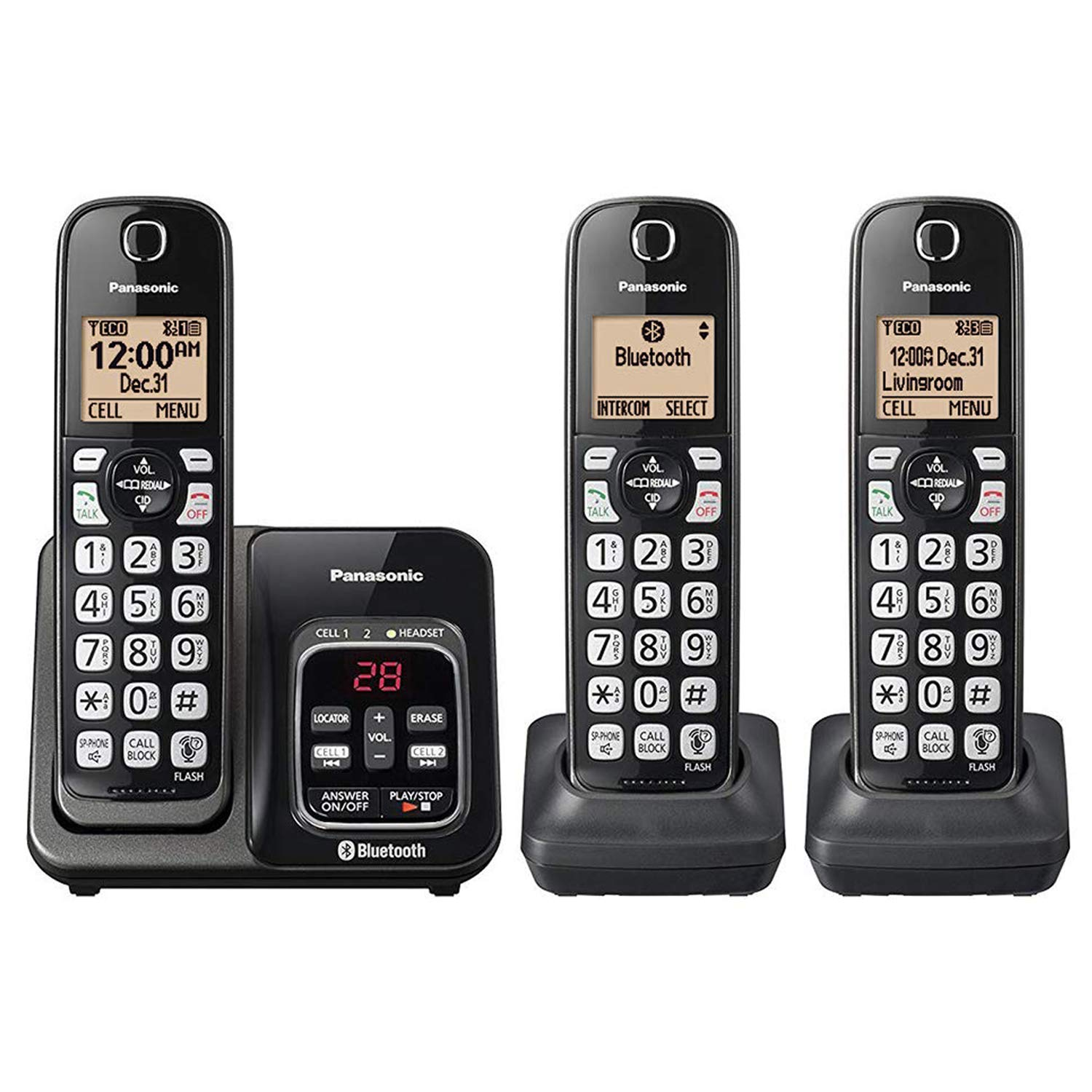 Panasonic KX-TG833SK Link2Cell Bluetooth with Talking Caller ID 3 Handset Cordless Phone (Renewed) by Panasonic (Image #1)