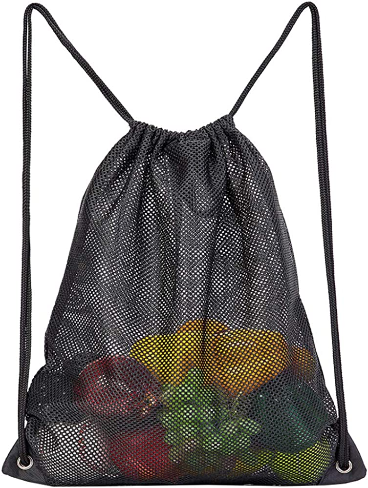 Heavy Duty Mesh Drawstring Bag, Sport Equipment Storage Bag for Beach, Swimming