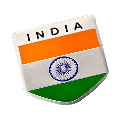 S2s india flag 3d chrome aluminium metal sticker emblem badge logo for car bike