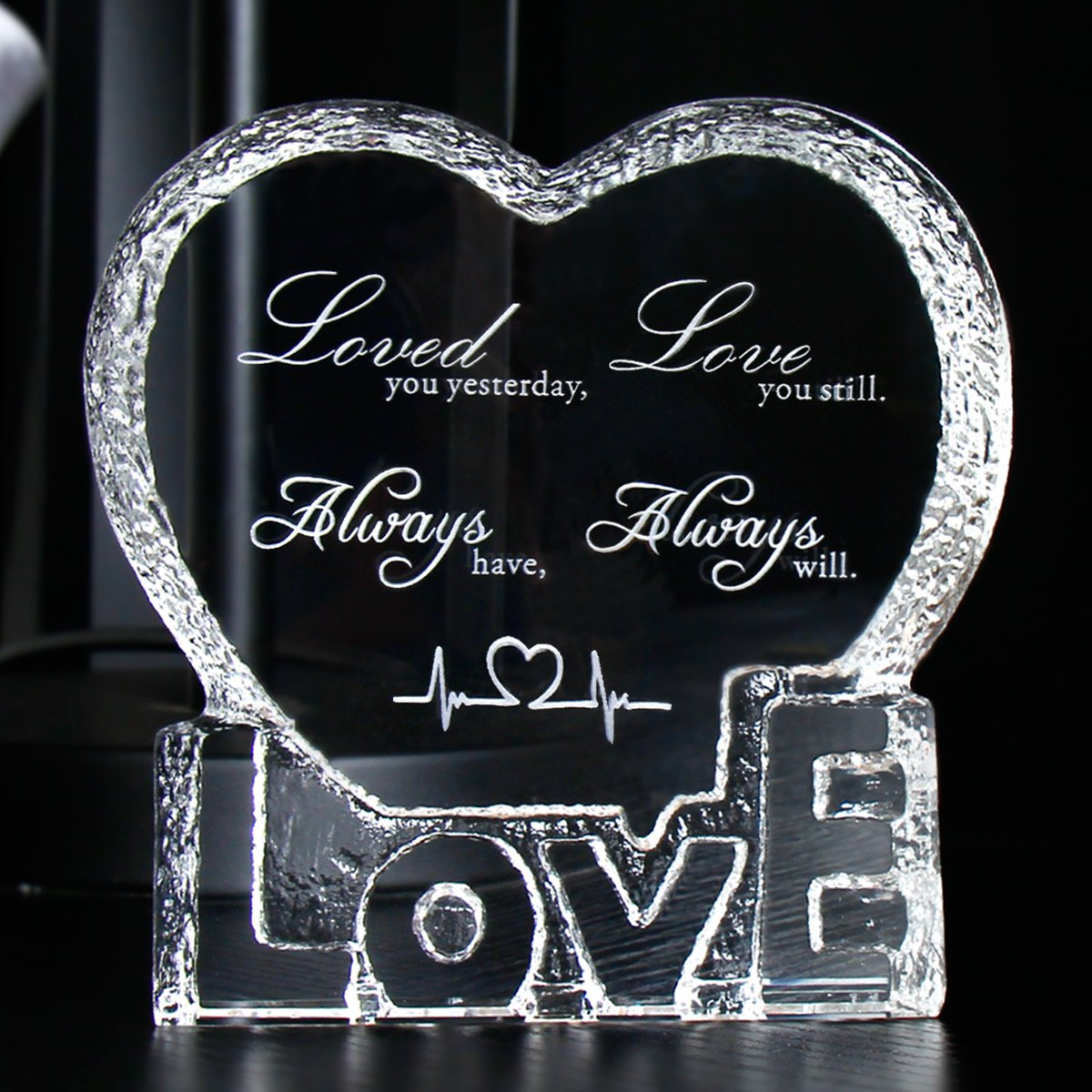YWHL Love Crystal Sculpture gifts for Anniversary,Wedding,Valentine's Day