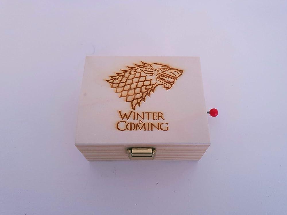 Caja de música de madera de pino con el lobo de Juego de Tronos ...