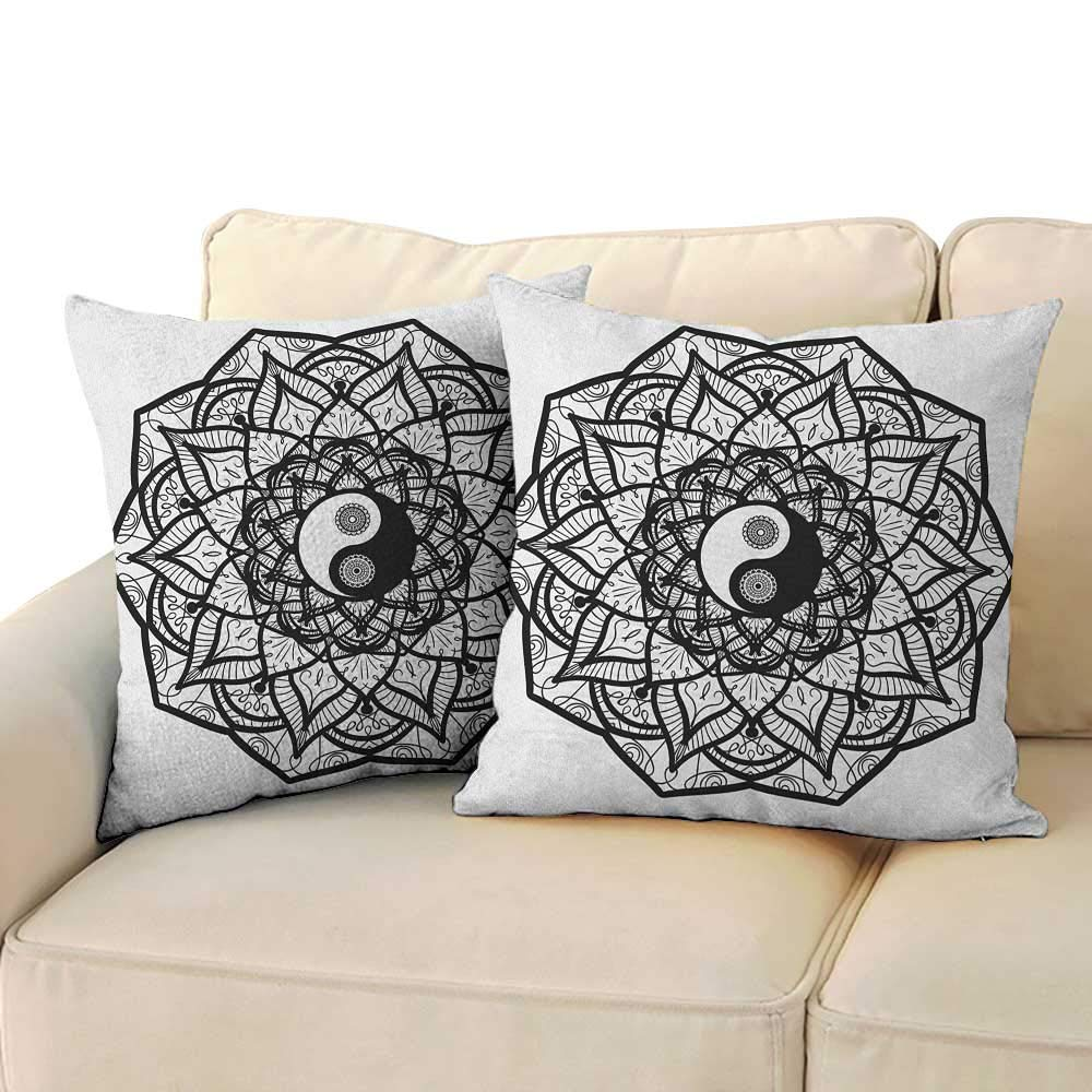 "RenteriaDecor Ying Yang,Square Throw Pillow Covers Floral Design Boho Mandala Graphic Art Yin Yang Curves Meditation Mystic World 16""x 16""x2 Decorative Pillow Cases Black White"