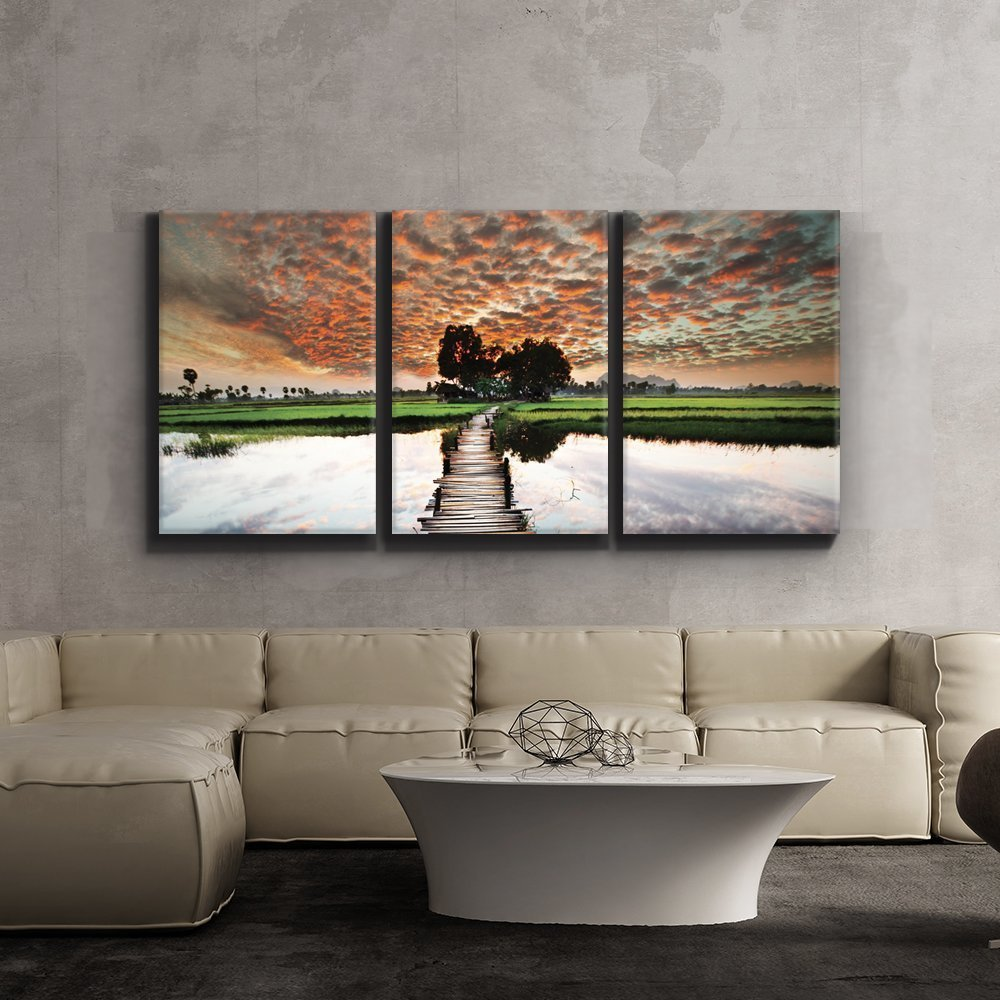 Print Contemporary Art Wall Decor Old Wooden Bridge Leads Into Beautiful Sunset Artwork Wood Stretcher Bars X3 Panels