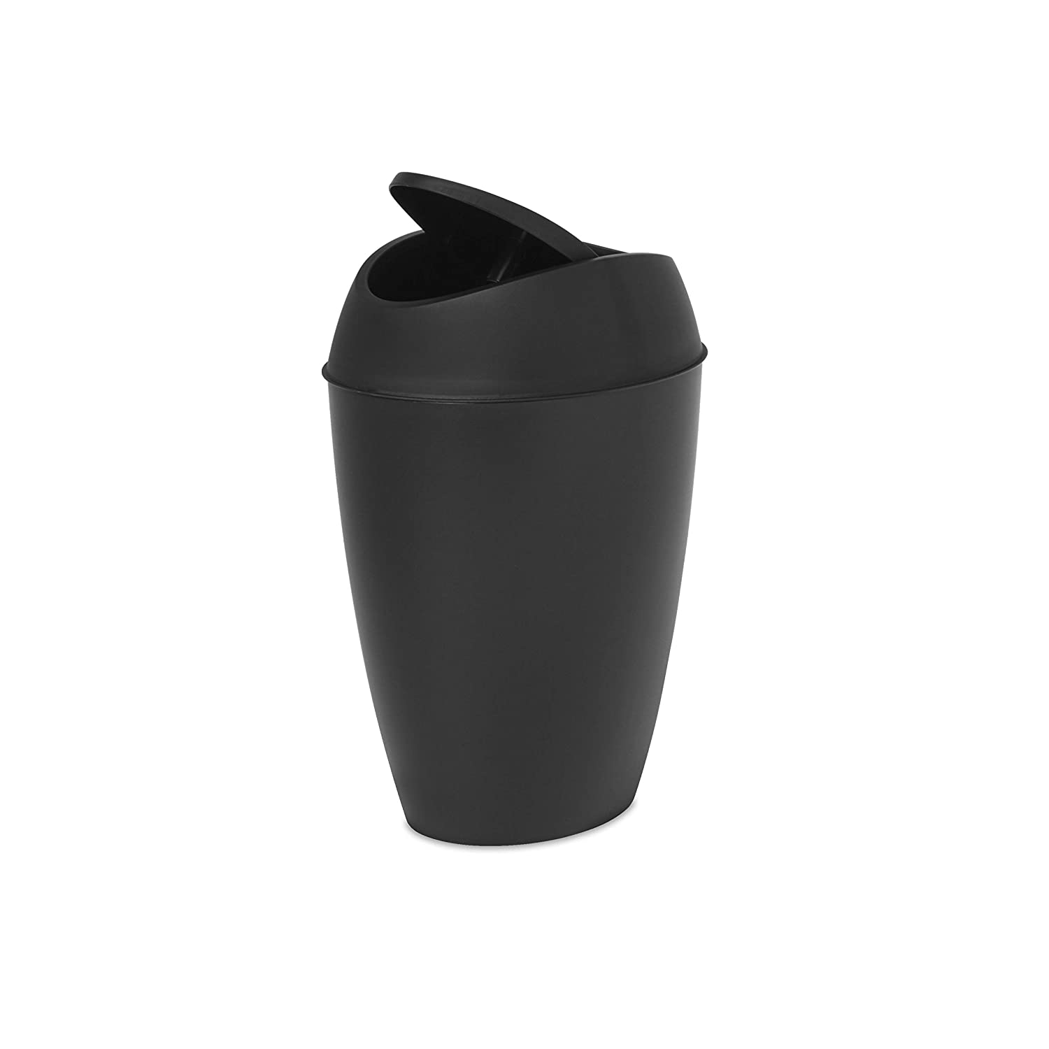 Umbra Twirla, 2.2 Gallon Trash Can with Swing-top Lid, Black