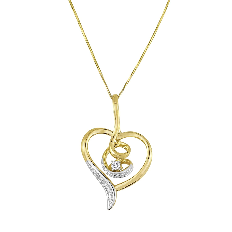Espira 10K Yellow Gold Diamond Swirl Heart Pendant Necklace (0.03 cttw, J-K Color, I2-I3 Clarity)